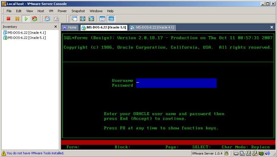 SQL*Forms V2.0.18.17 in full ANSI color