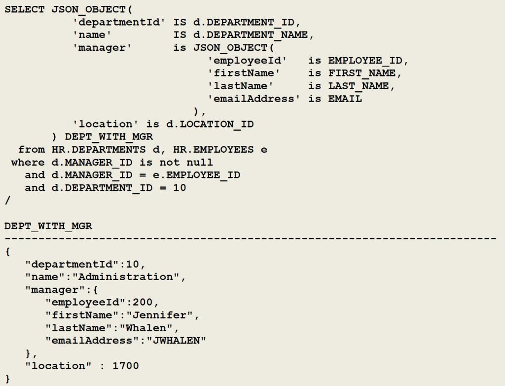 JSON_OBJECT - nesting JSON structures