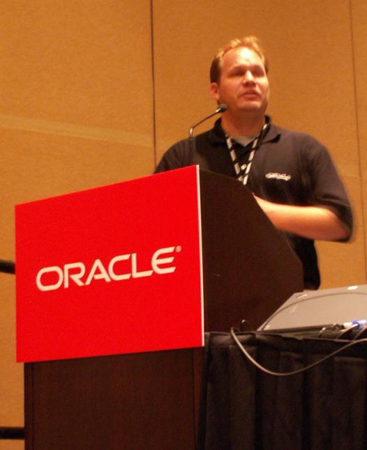 Carl Backstrom during Oracle Open World 2008, helping out during the XMLDB presentation of Mark Drake