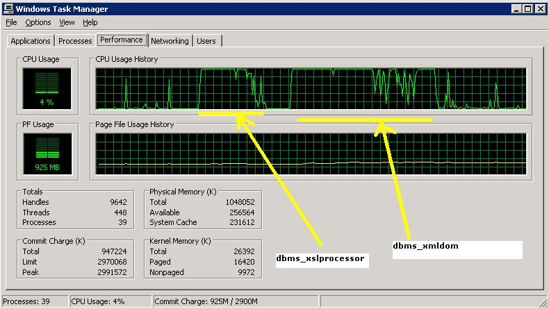 100% CPU consumption on Windows 2003 Server