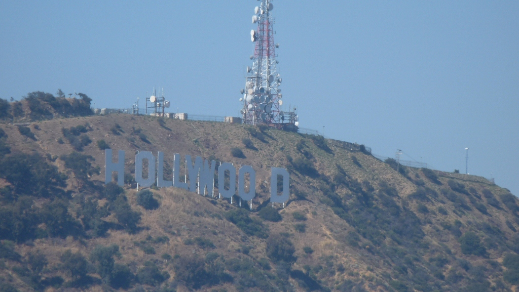 The Hollywood sign as seen from Mulholland Drive, LA