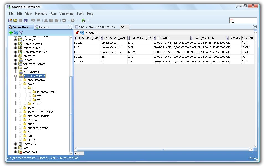 Oracle SQL Developer 2.1 EA Release - XMLDB Features